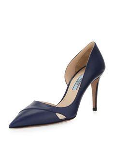detailed dress Calfskin Half d\'Orsay Pump, Blue by Prada at Neiman Marcus.