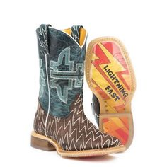 b78376310 Tin Haul® Kids Thunderbolt handcrafted boots. Brown leather with zigzag  stitch vamp. Crackled