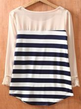 Navy and cream Striped Long Sleeve Chiffon Blouse - love the collar detail/beading and sheer sleeves