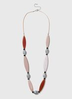 Womens Pink Resin Rope Necklace- Pink