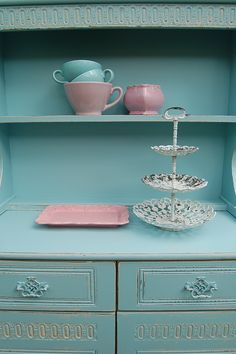 Vintage Dresser Hand Painted and distressed in F&B, Blue Ground... www.peelingpaint.co.uk