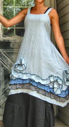 Light Blue Ruffles and Swirls Dress M by sarahclemensclothing, $149.00
