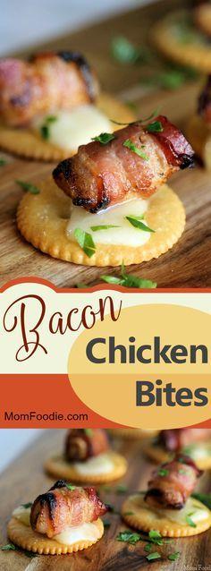 Bacon Chicken Bites Bacon Recipes, Healthy Chicken Recipes, Cooking Recipes, Game Recipes, Casserole Recipes, Vegan Recipes, Hot Appetizers, Appetizer Recipes, Tapas