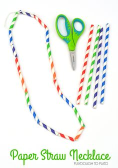 Fun paper straw necklace craft that works on threading, cutting, and hand eye coordination. Could easily swap out the straws and make it a holiday craft project or even work on math patterns. Straw Activities, Fun Activities For Kids, Motor Activities, Teaching Activities, Activity Ideas, Christmas Activities, Preschool Crafts, Fun Crafts, Crafts For Kids
