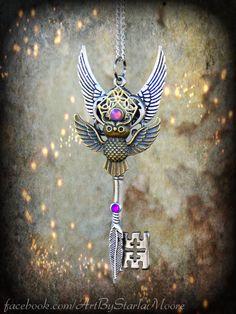 Owl Spirit Totem Fantasy Key Pendant OOAK by ArtbyStarlaMoore, $25.00