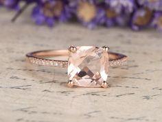 18K Rose Gold Pink Morganite Engagement Ring diamond wedding ring,8mm Cushion cut morganite ring custom made fine jewelry,promise ring for her