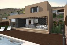 Vista 3D exterior de la villa tipo de 2 plantas.  #3d #architecture3d #artlantis #Archicad #model3d #design3d #render #rendering #3dmodel #3ddesign #renderings #Photoshop