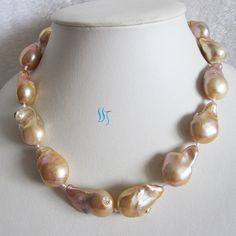 Pearl Necklace - 18 inches 13-16mm Pink Freshwater Bead Nucleated Baroque Pearl Necklace - Free shipping