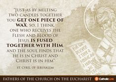 Catholic quotes, infographics, memes and more resources for the New Evangelization. Gallery: 10 Church Fathers' quotes on the Eucharist. Catholic Religion, Catholic Quotes, Orthodox Christianity, Baptism Quotes, Seven Sacraments, Faith Of Our Fathers, Early Church Fathers, Prayer Ministry, Orthodox Prayers