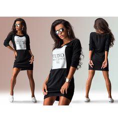 Cheap Autunno inverno vestito dalle donne di sport vintage nero bianco abiti sciolti sexy manica lunga casual abbigliamento donna plus size moda, Compro Qualità Dress direttamente da fornitori della Cina:           Tabella di formato &