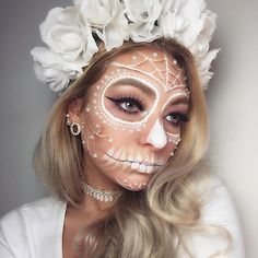 Classic white sugar skull defiantly one of my favorites I've done. ---------------------------- -For my face/sugar skull I used @wolfefaceartfx White hydrocolor and @mehronmakeup Mask cover/CreamBlend palette to blend everything and the pearls are from the craft store -on my eyes I used @nyxcosmetics Matte liquid liner, @ardell_lashes glamour lashes, @morphebrushes 35P eyeshadow palette, @anastasiabeverlyhills dipbrow promade in blonde