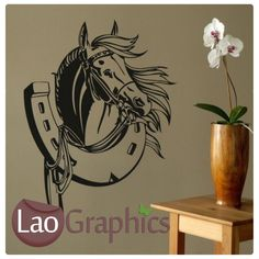 94f919d9fcf1 Horse Shoe Wall Art Sticker Large Vinyl Transfer Graphic Stable Box Decal  ho16