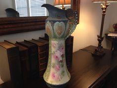 "Antique Vintage RS Prussia HUGE 24"" Pitcher Vase Hand Painted Roses Plate"
