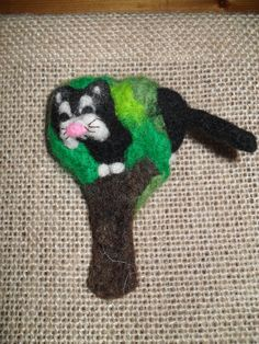 cute needlefelted cat up a tree brooch by JuliePavittRobinson on Etsy