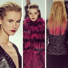 #dipdye #hair matches the #fur at CarmenMarcValvo, slick & combed back styles with #lips in blood #red. #NYFW #MBFW #beauty #runway #aw13 #NewYork
