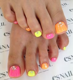 Pink, yellow & orange nails