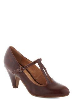 Bourbon Legend Heel by Chelsea Crew - Brown, Solid, Work, Mid, Faux Leather, Party, Vintage Inspired, 20s, 30s, 40s, T-Strap