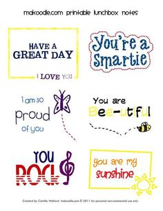 Lunch Box notes for the Kids!  Free printable.
