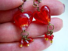 Red Art Glass Heart Drop Earrings Doodaba by doodaba on Etsy Red Earrings, Glass Earrings, Glass Beads, Red Glass, Glass Art, Valentines Jewelry, Red Art, Heart Jewelry, Crystals