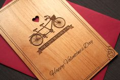 Romantic Valentines Day Card for Bike Lovers by TriElegance. #valentinesday, #valentinecard, #woodcard