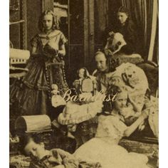 c1870-80s Stereoview Photo, Girls in Off Shoulder Dresses, Large Doll, Toys…
