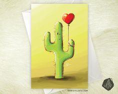 Carte de voeux Amitié Saint-Valentin Cactus et son ballon