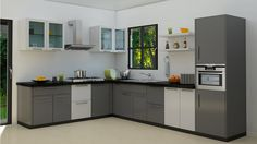 L Shaped Kitchen inspiration for your beloved home. L Shaped Kitchen with Island, and much more in this article to make your home beauty Kitchen Room Design, Modern Kitchen Design, Home Decor Kitchen, Interior Design Kitchen, Kitchen Designs, Kitchen Cabinets Color Combination, Kitchen Cabinet Colors, Cupboard Design, Modern Kitchen Cabinets