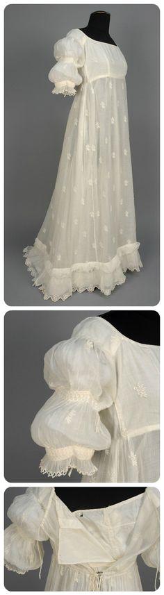 Vestido en muselina de algodón de 1799-1810, probablemente confeccionado en América.  #SmugMug No.582