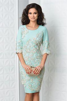 rochie midi bleu de ocazie cu broderie crem Tunic Tops, Boho, Casual, Dresses, Women, Fashion, Embroidery, Vestidos, Moda