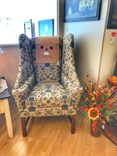 This is a unique style chair that is also part of our country house gallery. It is shown in a homespun fabric which complements the chair exactly how we had hoped! Country Style Furniture, Country Decor, Primitive Furniture, Upholstered Furniture, Wingback Chair, Sofas, Accent Chairs, Decorating, Antiques