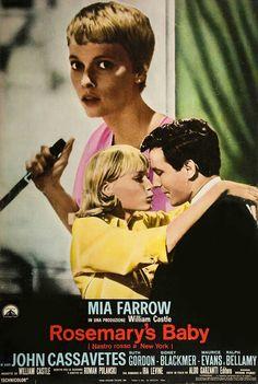 Rosemary's Baby, 1968 - Mia Farrow and John Cassavetes. Directed by Roman Polanski Sci Fi Horror Movies, Scary Movies, Old Movies, Vintage Movies, Great Movies, Horror Movie Posters, Cinema Posters, Rosemaries Baby, Dramas