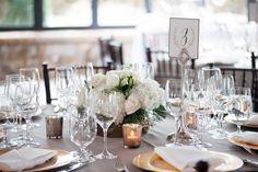 White Hydrangea, Blush Rose, Green Pine Wedding Centerpieces