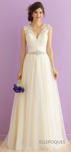 2016 A Line V Neck Wedding Dresses Tulle With Applique