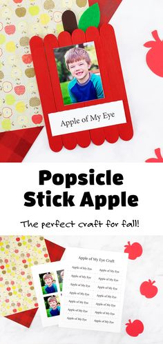 This cute popsicle stick apple craft is the best keepsake for fall. Perfect for home or school! #popsiclestickapple #craft #fall #preschool Arts And Crafts For Kids Toddlers, Popsicle Stick Crafts For Kids, Creative Activities For Kids, Crafts For Kids To Make, Popsicle Sticks, Toddler Crafts, Craft Stick Crafts, Fall Crafts, Toddler Activities