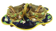 George Jones Majolica Bird and Nest Desk Set