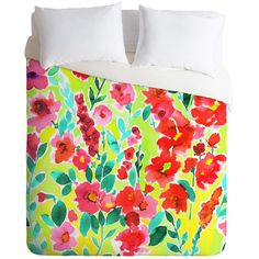DENY Designs Amy Sia Isla Floral Yellow Duvet Cover ($80) ❤ liked on Polyvore featuring home, bed & bath, bedding, duvet covers, yellow bedding, deny designs bedding, floral bedding, flowered bedding and patterned bedding