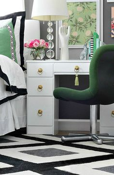 Bedroom makeover with green, black, white, gold, and pops of pink.