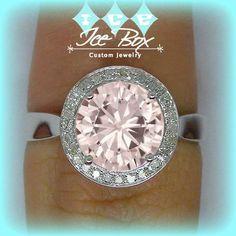 Pink Moissanite Engagement Ring 1.5ct Round Peach Pink Moissanite in a 14k White Gold Diamond Halo Setting - Nice Morganite alternative