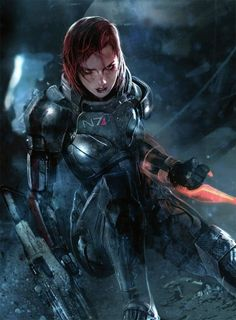 Shepard - Mass Effect  For creating this painting the artist has used a monochromatic scale then used a complementary colour of red.