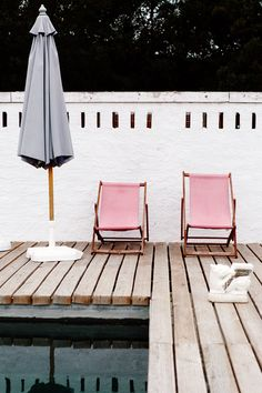 Pretty pink lounge chairs.