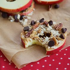 Cored and sliced apples with peanut butter, chopped pecans, oats, and chocolate chips. I just used peanut butter and dark choc. chips and they were rockin'! Probably my new favorite snack/treat. I sliced an entire apple at a time and stored extra rings in a baggy in fridge for easy assembly later. Definitely a fun and yummy treat for kids & adults! My score (1-10)--9! Make em'!