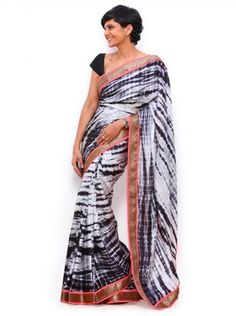 NEW LATEST WHITE COLOR SIBORI PRINT WEIGHTLESS GOERGET EMBROIDERY WORK SAREE Sarees on Shimply.com