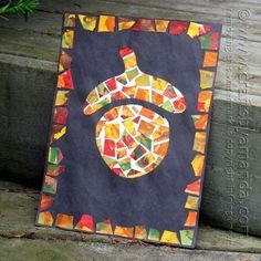 This mosaic paper acorn is one of my favorite kid's crafts for fall. With this paper acorn project, your child can create a beautiful piece of artwork.