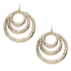 Three rows of textured shiny goldtone hoops come together to make the Claudia Hoop Earrings. These earrings have a fish hook. $12.99