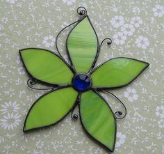 Lime Green Flower Stained Glass Suncatcher by valleybeadglassart