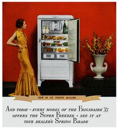 "When I was a little girl we actually had one of these. And if you look closely in the ""ice box"" you can see the glass storage containers my Mom used. There was a ""freezer"" about 1 foot by 1 foot square for your frozen foods."