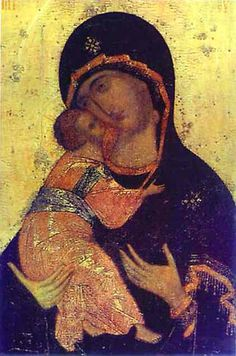Andrei Rublev ~ The Virgin of Vladimir, c.1410s Harkened back to the faith of my fathers. Sentimental.