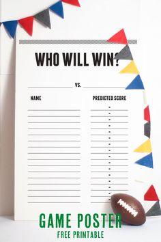 Confetti Sunshine: Free Printable Superbowl Game Poster
