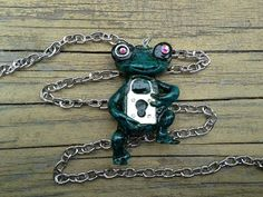 Keyhole Frog Pendant with Chain by ConstantMindJewelry on Etsy, $13.99