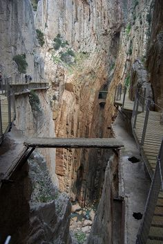 Caminito del Rey, arguably much safer now but if you drop your hotel key you're still pretty SOL.